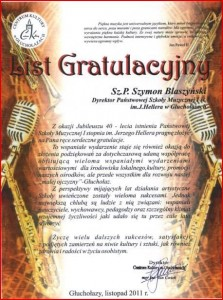 List gratulacyjny CK